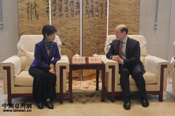 刘结一会见中国国民党前主席洪秀柱。(中国台湾网 黄露佳 摄)