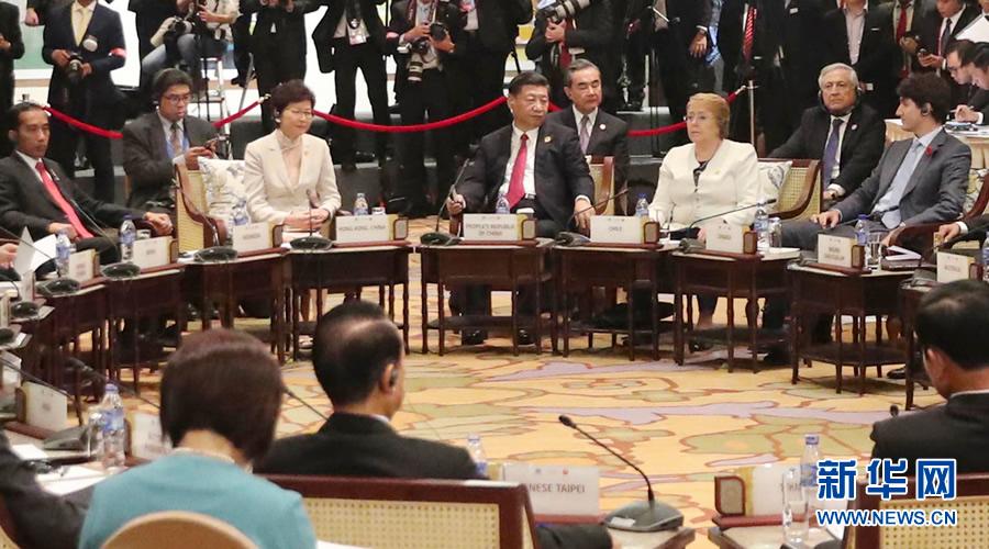 11月10日,国家主席习近平出席在越南岘港举行的亚太经合组织领导人与东盟领导人对话会。 新华社记者 丁林 摄