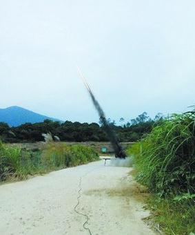 古宅水库附近人工增雨火箭弹发射