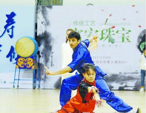 图为开幕式外籍武术代表队节目展演《四海神韵》