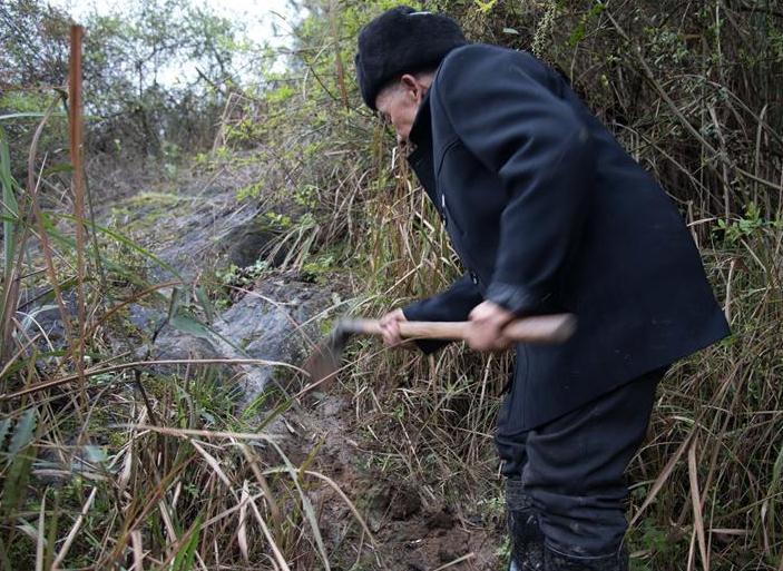 通往水渠的道路难行,黄大发用锄头挖出道路。刘续 摄