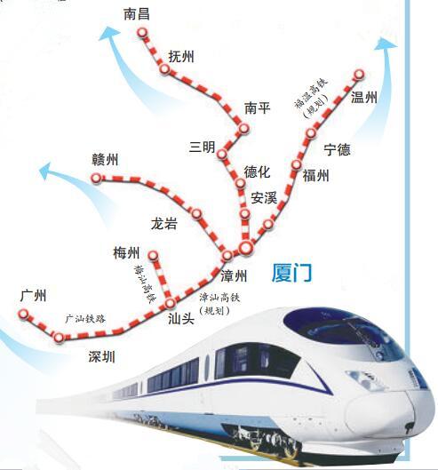 厦门往浙赣粤高铁规划示意图 在建议规划的铁路线中,多条高铁从厦门出发,辐射浙江、江西、广东等省份,随着这些高铁项目的建成投用,未来厦门往来浙、赣、粤等地的时空距离将进一步缩短。