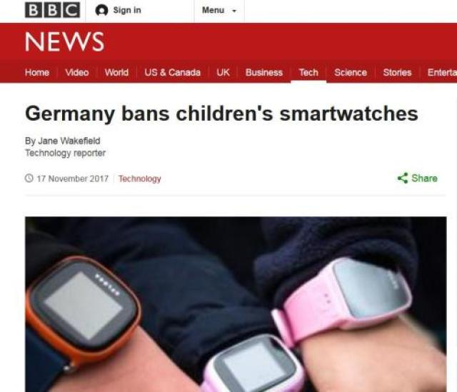 ↑据英BBC报道,德国联邦网络局禁止在该国销售儿童智能手表。