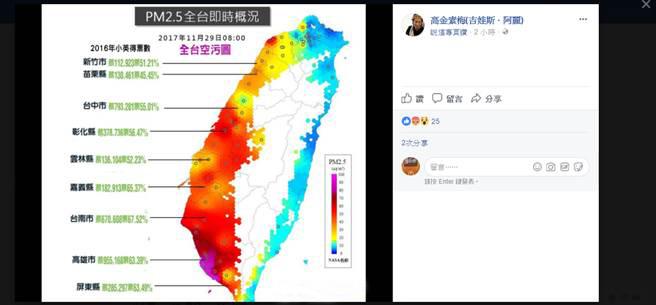 "PM2.5与蔡英文2016得票率。(取自高金素梅""脸书"")"