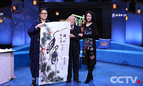 孔德墉、倪萍、齐慧娟联手作画《松鹤延年》