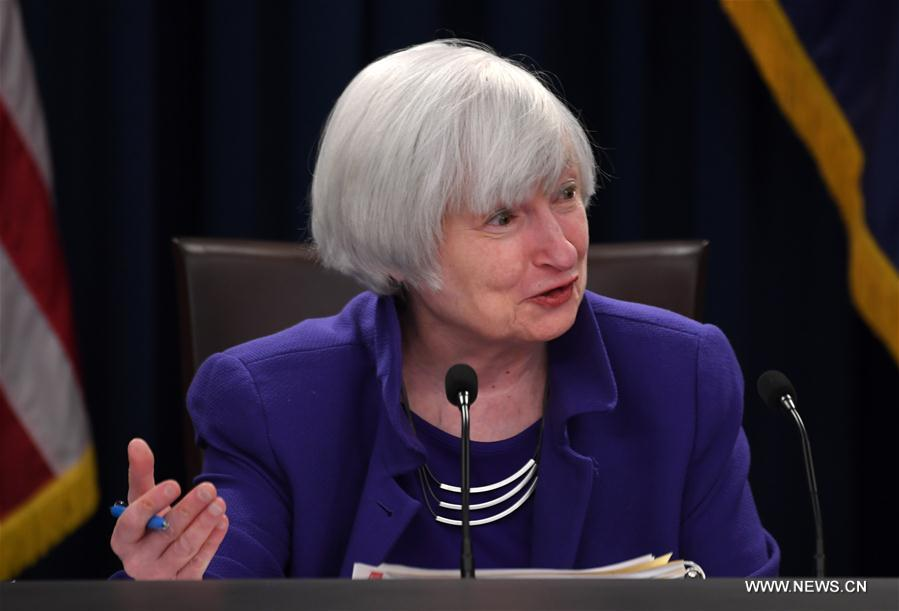 U.S. Federal Reserve Chair Janet Yellen speaks during a news conference in Washington D.C., the United States, on Dec. 13, 2017. The U.S. Federal Reserve on Wednesday raised the benchmark interest rate by 25 basis points, the third such increase in 2017. (Xinhua/Yin Bogu)