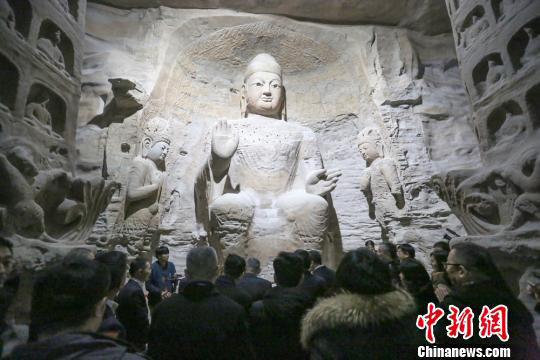 A full-size replica of Buddhist statues from the Yungang Grottoes in North China