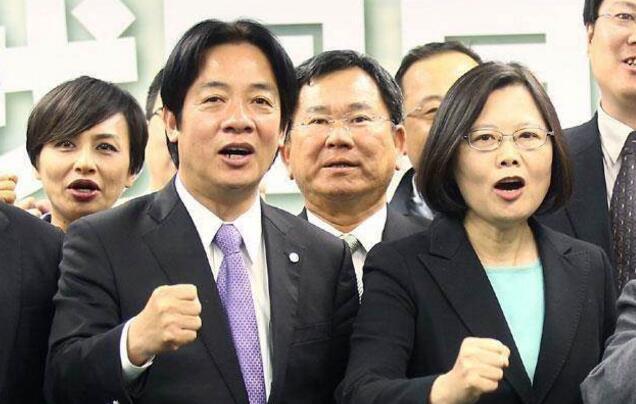 """台当局现任领导人蔡英文与台""""行政院长""""赖清德。"""