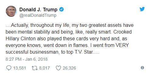 """特朗普反击""""精神异常""""指控 称自己是精神稳定的天才"""