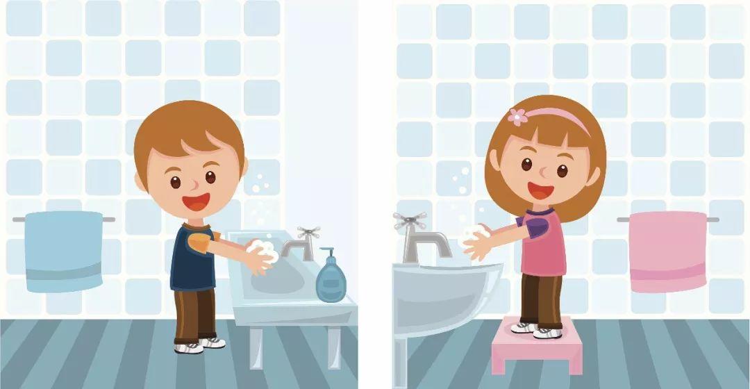 动漫儿童正确洗手图片
