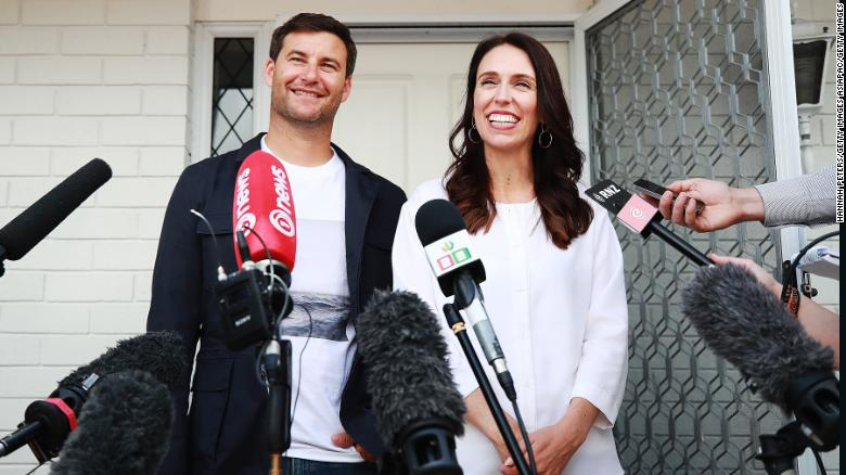 Prime Minister Jacinda Ardern and her partner Clarke Gayford speak to the media January 19 in Auckland.