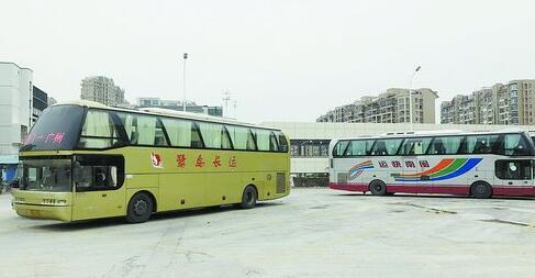 """写有""""闽南快运""""字样的大巴车和鹭岛长运的大巴车一同被停放在停车场内"""