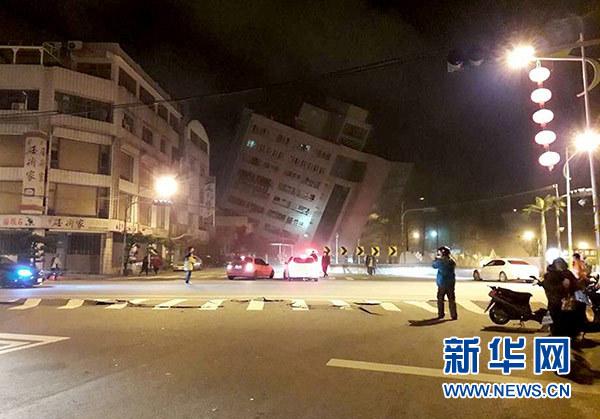 这是地震后的花莲街头(2月7日摄)。新华社发