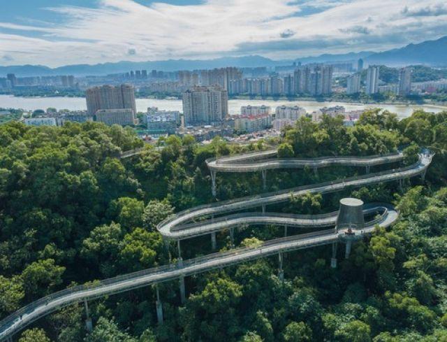 """福州市已经建成开放的""""福道""""一角。(新华社记者宋为伟摄于2017年11月22日)"""
