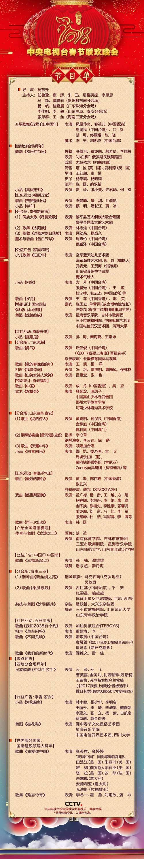 曝央视春晚节目单,主持人,2018 狗年春晚几点开始,直播地址