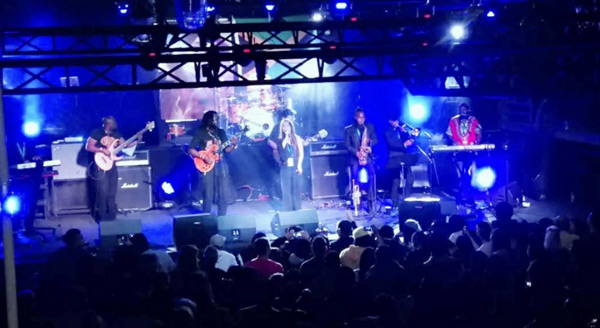 "The One Drop Band performs live at the ""Bob Marley Day 2018"" celebration at OMNI SPACE in Beijing.  Photo provided by Vicki Cann"