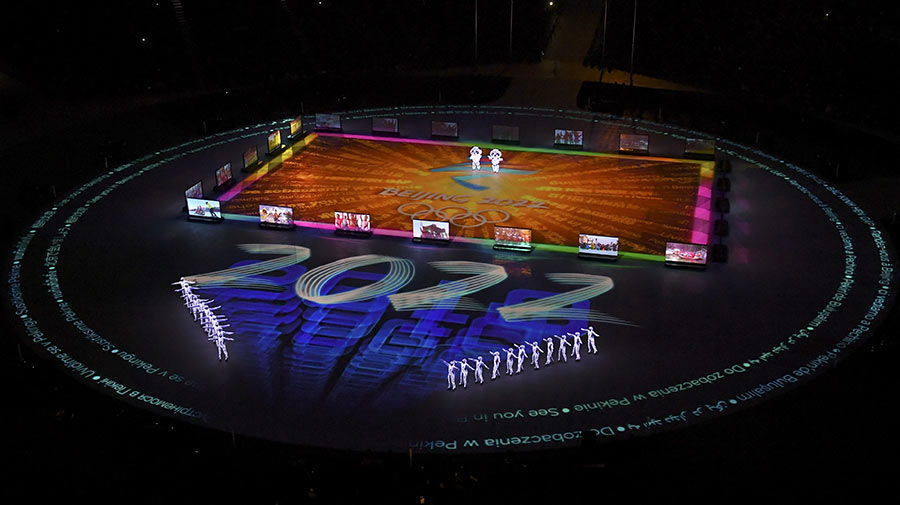 The Beijing 2022 presentation is performed in a colorful display during the closing ceremony of the 2018 Pyeongchang Winter Olympics in the Republic of Korea. It focuses on the next Winter Games. [Photo/Xinhua]