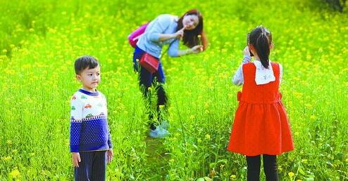 """▲忠仑公园赏花忙,你拍照来我""""站岗""""。"""
