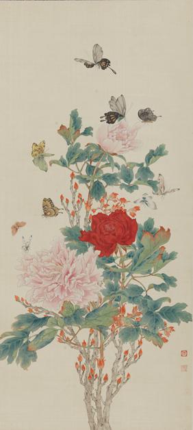 《牡丹群蝶》陈之佛 94.6×42.5cm