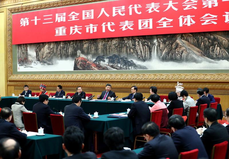 3月10日,中共中央总书记、国家主席、中央军委主席习近平参加十三届全国人大一次会议重庆代表团的审议。