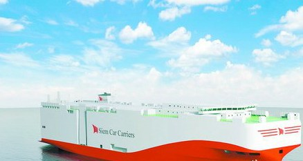 7500车LNG汽车滚装船效果图。