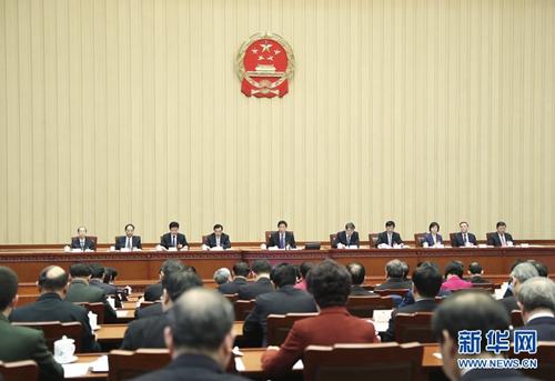 3月18日,十三届全国人大一次会议主席团在北京人民大会堂举行第九次会议。主席团常务主席栗战书主持会议。 新华社记者 谢环驰 摄