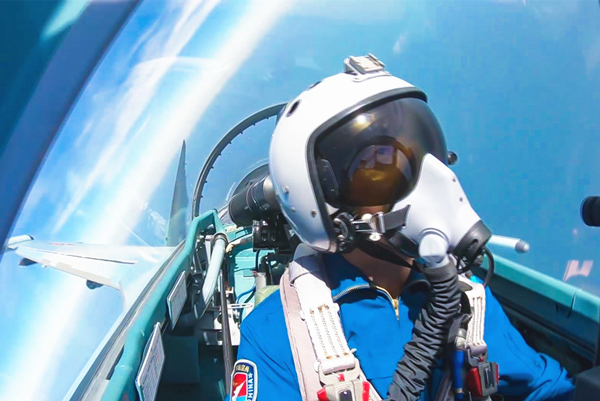 A Chinese pilot during an exercise over the South China Sea. XINHUA