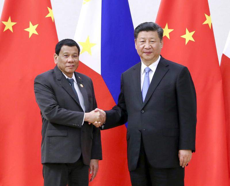 4月10日,国家主席习近平在海南省博鳌国宾馆会见菲律宾总统杜特尔特。