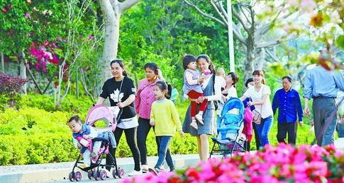 ▲昨日天气晴朗。图为昨天临近傍晚到忠仑公园游玩的市民和游客