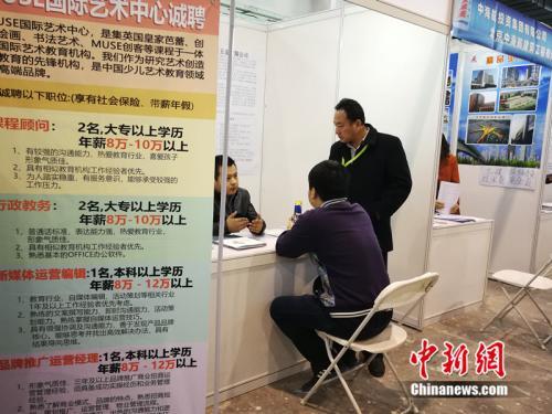 2018年北京春季综合人才招聘会现场,一名男子在某企业展台前咨询。中新网 邱宇 摄