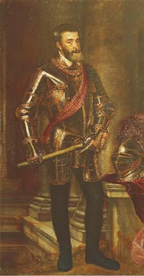戎装的查理五世(布面油画) 提香・韦切利奥及其工作室 乌菲齐美术馆收藏