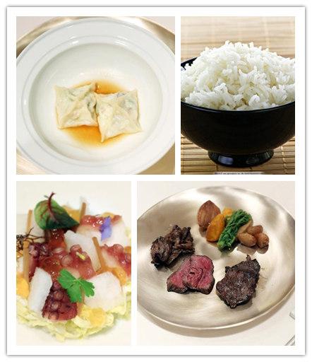 左上:黄姑鱼海参水饺 右上:鸭田米饭 左下:凉拌章鱼 右下:炭烤牛肉