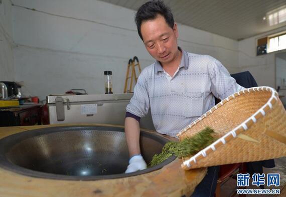 来自安徽金寨的炒茶师傅汪显惕,将手工炒制完成的龙井茶出锅。