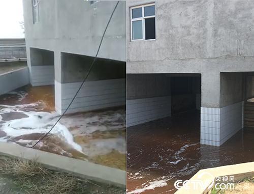 左图为网络视频中的画面,显示主闸门有污水流出。右图为记者5月4日拍摄画面,显示水从主闸门一侧流出。据石家庄环保局晋州分局有关人员介绍,经过预处理池处理的水应从主闸门一侧流入滹沱河。