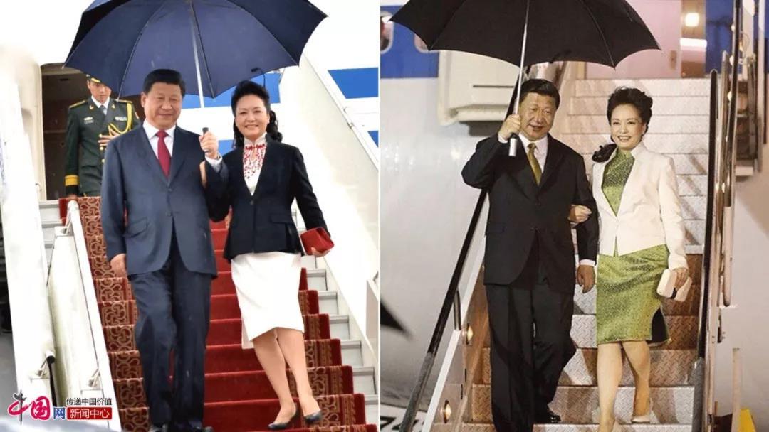 △在出访时,习近平贴心为彭丽媛撑伞。左图为2014年8月21日,国家主席习近平对蒙古国进行国事访问。右图为2013年5月31日,国家主席习近平访问特立尼达和多巴哥。