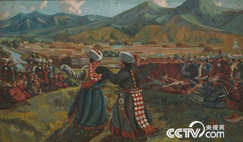 拉卜楞寺前歌舞-1945年-138X231cm