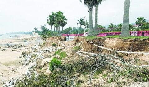 黄厝路口段被掏空的沙滩