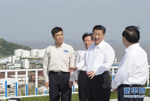 2015年5月25日至27日,中共中央总书记、国家主席、中央军委主席习近平在浙江考察调研。这是5月25日下午,习近平在岙山国家战略石油储备基地视察。新华社记者谢环驰摄