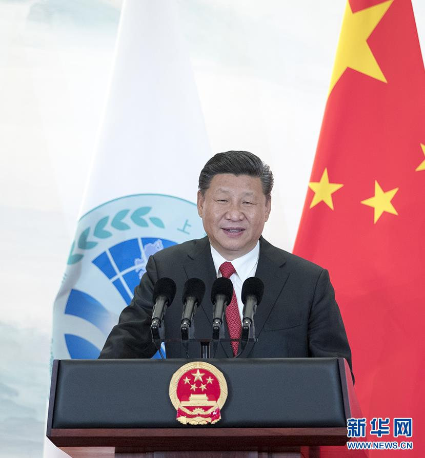 6月9日,国家主席习近平在青岛国际会议中心举行宴会,欢迎出席上海合作组织青岛峰会的外方领导人。这是习近平发表致辞。(图片来自:新华网)