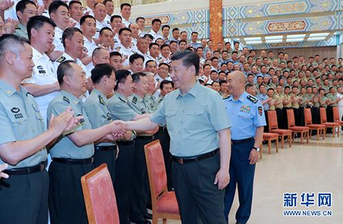 6月14日上午,中共中央总书记、国家主席、中央军委主席习近平在济南亲切接见驻山东部队副师职以上领导干部。新华社记者李刚摄