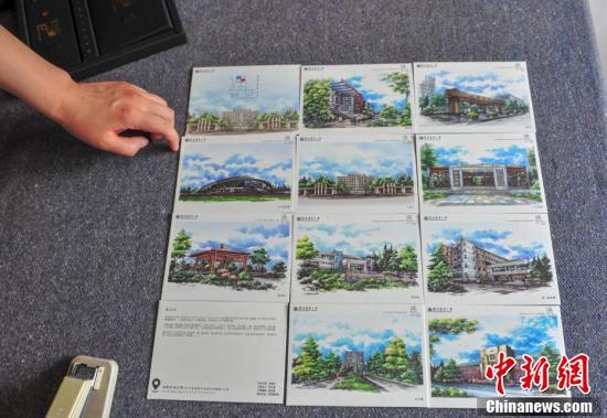 全套《遇见沈农》手绘校园景色明信片。