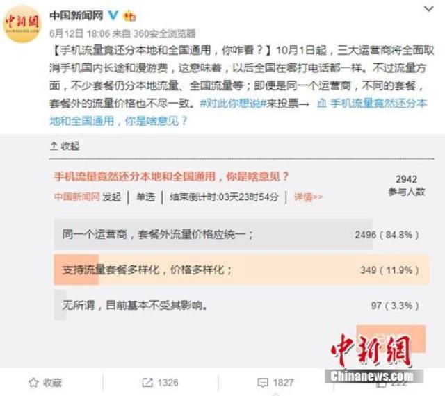 """↑2017年6月份,中国新闻网微博发起关于""""手机流量竟还分本地流量和全国通用,你咋看?""""的小调查,引发网友关注。"""