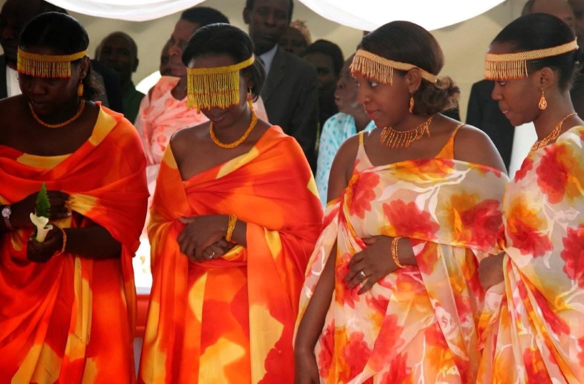 The bridal traditional ware of Ankole kingdom during marriage, the face of the bride is covered with hanging bids until the groom unveils her.