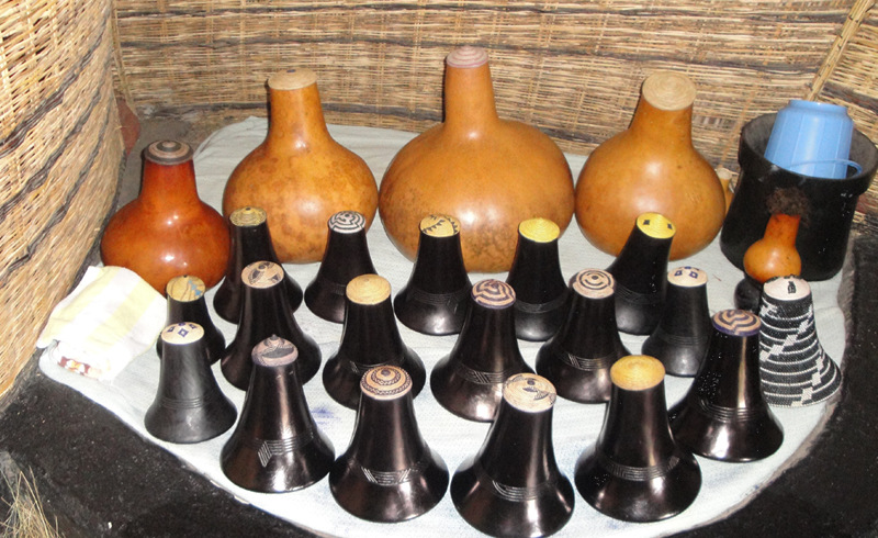 The traditional Ankole Calabashes where milk is stored and grease.