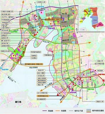 厦门东部市级中心规划示意图。
