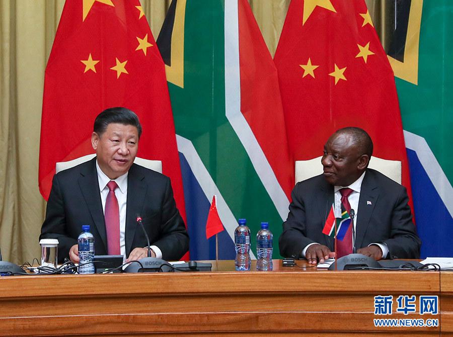 7月24日,国家主席习近平在比勒陀利亚同南非总统拉马福萨举行会谈。 新华社记者 谢环驰 摄