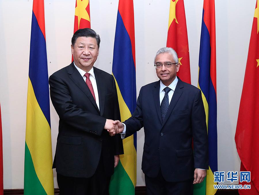 7月28日,国家主席习近平在毛里求斯会见毛里求斯总理贾格纳特。