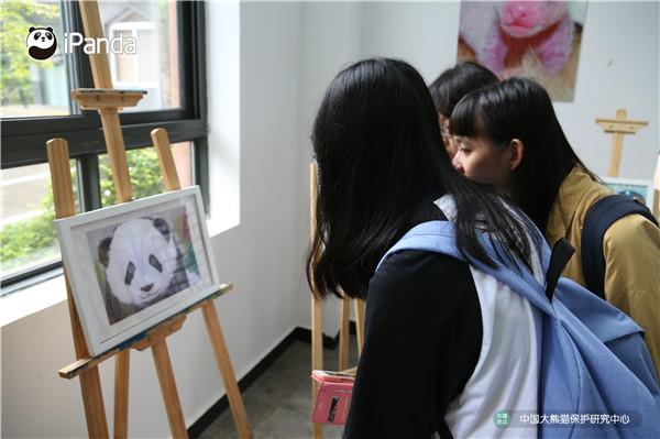 学员观看画展