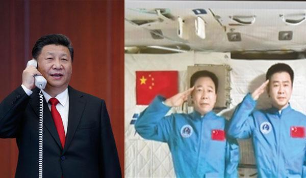 2016年11月9日,習近平來到中國載人航天工程指揮中心,同正在天宮二號執行任務的神舟十一號航天員景海鵬、陳冬親切通話。來源:新華社
