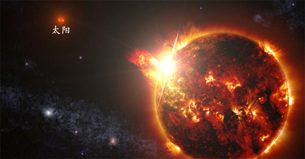 图为富锂巨星与太阳对比的想象图。(国家天文台供图)